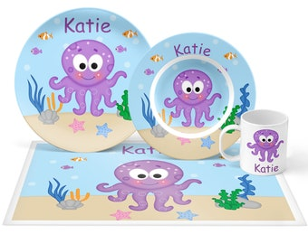 Octopus Plate Set - Personalized Kids Plate, Bowl, Mug & Placemat - Octopus Plate Set - Kids Plastic Tableware - Microwave Safe