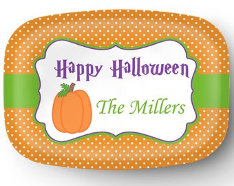 Personalized Platter - Custom Tray with Pumpkin - Personalized Halloween Pumpkin Serving Platter - Custom Melamine Platter