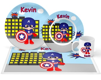 Captain America Plate Set - Personalized Kids Plate, Bowl, Mug & Placemat - Super Hero Plate Set - Kids Plastic Tableware - Microwave Safe