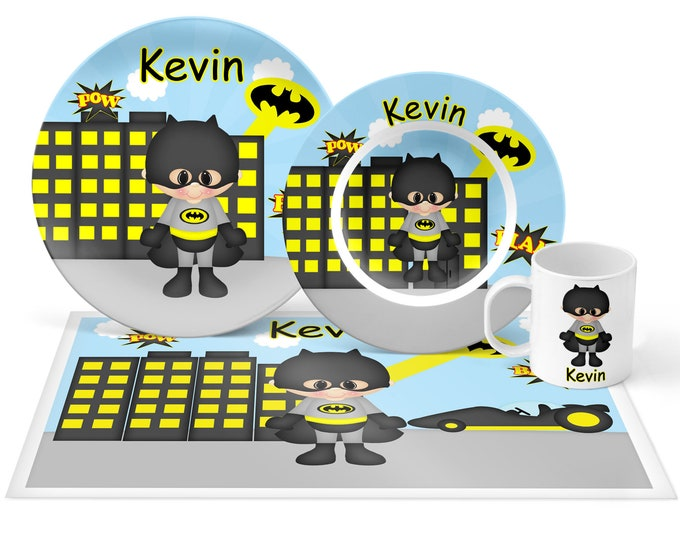 Featured listing image: Batman Plate Set - Personalized Kids Plate, Bowl, Mug & Placemat - Super Hero Plate Set - Kids Plastic Tableware - Microwave Safe