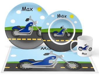Motorcycle Plate Set - Personalized Kids Plate, Bowl, Mug & Placemat - Motorcycle Plate Set - Kids Plastic Tableware - Microwave Safe