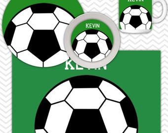 Soccer Plate & Bowl Set - Personalized Soccer Plate Set - Customized Plate and Bowl - Melamine Plate and Bowl Set for Kids