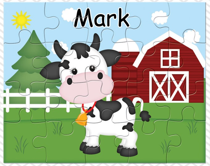 Featured listing image: Cow Personalized Puzzle, Personalized Farm Puzzle, Personalized Kids Puzzle