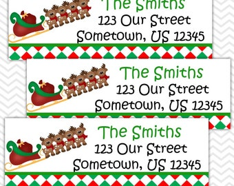 Christmas Santa Sleigh - Personalized Address labels, Stickers