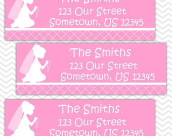 Kneeling Girl Pink Baptism Christening First Holy Communion  - Personalized Address labels, Stickers