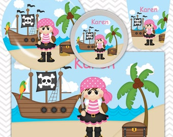 Pirate Girl Plate, Bowl, Cup, Placemat - Personalized Plate Dinnerware for Kids - Custom Tableware