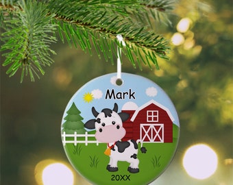 Cow Ornament - Personalized Cow Ornament, Farm Ornament, Kids Ornament, Christmas Tree Ornament