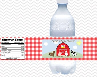 Barn Yard Red Gingham Farm Animals  - Personalized water bottle labels - Set of 5  Waterproof labels