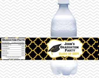 Graduation Cap - Personalized Water bottle labels - Set of 5 Waterproof labels