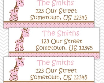 Baby Giraffe Pink - Personalized Address labels, Stickers, Baby Shower