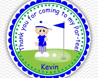 Golf Boy - Personalized Stickers, Party Favor Tags, Thank You Tags, Gift Tags, Address labels, Birthday, Baby Shower