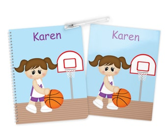 Basketball Girl Folder Notebook Set - Personalized School Folder - Personalized Notebook - Folder with Name - Back to School