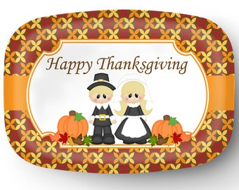 Personalized Platter - Custom Tray with Pilgrams - Personalized Thanksgiving Pilgrams Serving Platter - Custom Melamine Platter