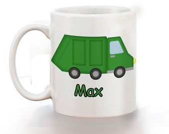 Garbage Truck Personalized Kids Mug, Personalized Polymer Mug, Personalized Ceramic Mug, Custom Personalized Kids Mug