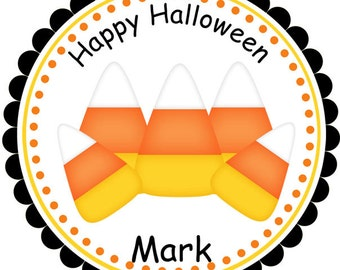 Halloween Candy Corn - Personalized Stickers, Party Favor Tags, Thank You Tags, Gift Tags