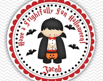 Halloween Dracula- Personalized Stickers, Party Favor Tags, Thank You Tags, Gift Tags
