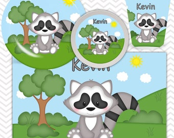 Raccoon Plate, Bowl, Cup, Placemat - Personalized Raccoon Dinnerware for Kids - Custom Tableware