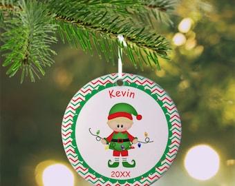 Christmas Elf Boy Ornament - Personalized Elf Ornament, Elf Ornament, Kids Ornament, Christmas Tree Ornament