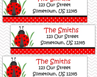 LadyBug  Red and Black - Personalized Address labels, Stickers, Baby Shower, Birthday