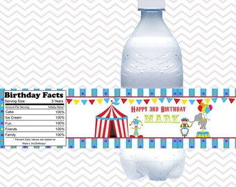 Circus - Personalized water bottle labels - Set of 5  Waterproof labels