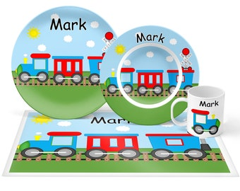 Train Plate Set - Personalized Kids Plate, Bowl, Mug & Placemat - Train Plate Set - Kids Plastic Tableware - Microwave Safe