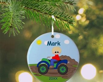 ATV 4-Wheeler Boy Ornament - Personalized ATV Ornament, 4-Wheeler Ornament, Kids Ornament, Christmas Tree Ornament