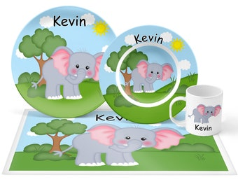 Elephant Plate Set - Personalized Kids Plate, Bowl, Mug & Placemat - Elephant Plate Set - Kids Plastic Tableware - Microwave Safe