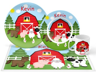 Barn Yard Red Plate Set - Personalized Kids Plate, Bowl, Mug & Placemat - Farm Plate Set - Kids Plastic Tableware - Microwave Safe