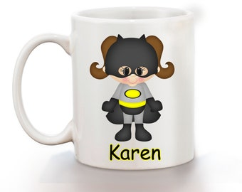 Batgirl Super Hero Personalized Kids Mug, Personalized Polymer Mug, Personalized Ceramic Mug, Custom Personalized Kids Mug