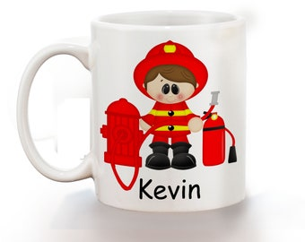 Fireman Personalized Kids Mug, Personalized Polymer Mug, Personalized Ceramic Mug, Custom Personalized Kids Mug