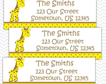 Baby Giraffe Yellow - Personalized Address labels, Stickers, Baby Shower