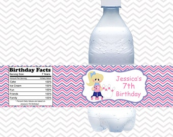 Bowling Girl - Personalized water bottle labels - Set of 5  Waterproof labels