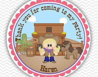 Cowgirl Thank You Tags- Set of 12 Personalized Party Decorations