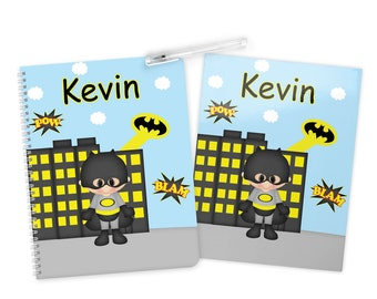 Batman Super Hero Folder Notebook Set - Personalized School Folder - Personalized Notebook - Folder with Name - Back to School