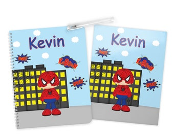 Spiderman Super Hero Folder Notebook Set - Personalized School Folder - Personalized Notebook - Folder with Name - Back to School
