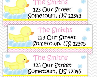 Rubber Duck Pink - Personalized Address labels, Stickers, Baby Shower
