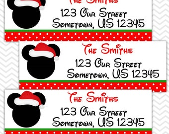 Christmas Mickey - Personalized Address labels, Stickers