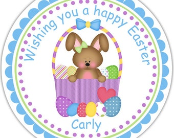 Easter Basket Bunny Personalized Stickers - Address Labels, Personalized Stickers, Party Favor Tags, Thank You Tags, Gift Tags