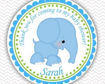 Blue Elephant - Personalized Stickers, Party Favor Tags, Thank You Tags, Gift Tags, Address labels, Baby Shower