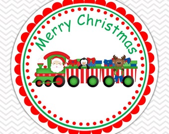 Christmas Train-  Personalized Stickers, Party Favor Tags, Thank You Tags, Gift Tags, Address labels, Birthday