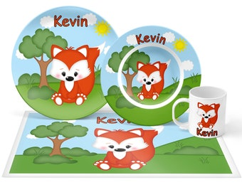 Fox Plate Set - Personalized Kids Plate, Bowl, Mug & Placemat - Fox Plate Set - Kids Plastic Tableware - Microwave Safe