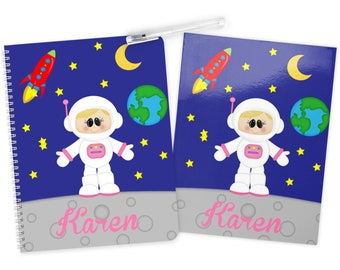 Astronaut Girl Space Folder Notebook Set - Personalized School Folder - Personalized Notebook - Folder with Name - Back to School