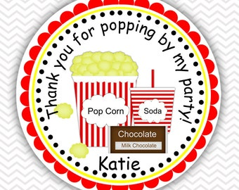 Movie Night - Personalized Stickers, Party Favor Tags, Thank You Tags, Gift Tags, Address labels, Birthday, Baby Shower