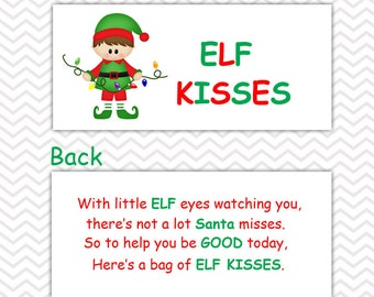 Christmas Elf Kisses Boy - Personalized DIY Christmas Printable Bag Topper, Treat Topper, Food Tent