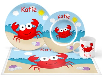 Crab Plate Set - Personalized Kids Plate, Bowl, Mug & Placemat - Crab Plate Set - Kids Plastic Tableware - Microwave Safe