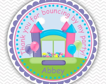 Bounce House Pastel Girl - Personalized Stickers, Party Favor Tags, Thank You Tags, Gift Tags, Address labels, Birthday, Baby Shower