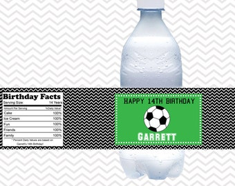 Soccer - Personalized Water bottle labels - Set of 5 Waterproof labels