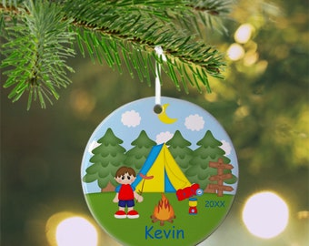 Camping Boy Ornament - Personalized Camping Ornament, Camping Ornament, Kids Ornament, Christmas Tree Ornament