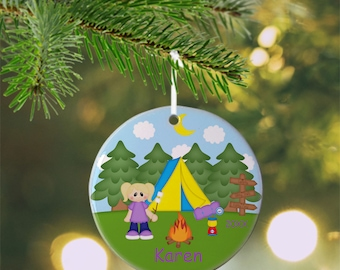 Camping Girl Ornament - Personalized  Camping Ornament, Camping Ornament, Kids Ornament, Christmas Tree Ornament
