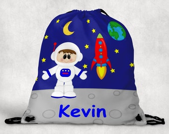Astronaut Boy Personalized Drawstring Backpack - Astronaut Backpack - Astronaut Sports Bag - Personalized Kids Drawstring Bag